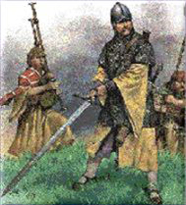 Gallowglass armed with claymore in the foreground with piper and kern behind him