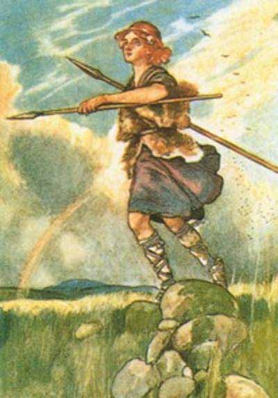 Cuchullain as a young boy armed with two spears
